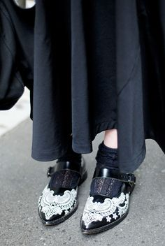 CDG shoes - I could draw inspiration from this and mod podge plastic doily material to shoes