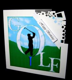Golf 8 x 8 Quick Card by Dianne Jackson I mounted onto an 8 x 8 card with a die-cut corner and added the layers using sticky pads. I added a sentiment banner to finish off this quick and simple design
