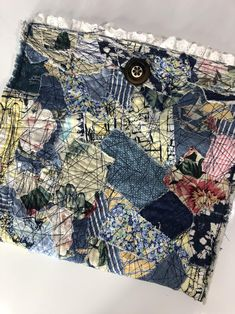 Boho Up cycled Patchwork Clutch Bag Handmade Recycled Materials Wrist Strap Denim Vintage Rustic Tattered Frayed Fabric Bags, Fabric Scraps, Fabric Handbags, Fabric Basket, Boro Stitching, Summer Dress, Patchwork Bags, Quilted Bag, Embroidery Fabric