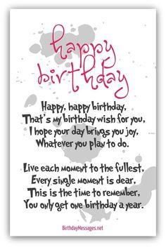 Happy Birthday Poems - Happy Birthday Messages:
