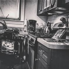 Doing a photo shoot in my kitchen this morning. Gonna make it super fancy. I might Periscope it a little later. #9to5