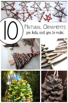 10 Natural ornaments for kids and you to make. It's the perfect time of the year to go for a nature walk to collect materials that you can use and then get creative to decorate the home with the Natural Ornaments this Christmas. Noel Christmas, Christmas Crafts For Kids, Christmas Activities, Diy Christmas Ornaments, Homemade Christmas, Rustic Christmas, Christmas Projects, Winter Christmas, Holiday Crafts