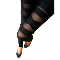 LOCOMO Women Half Mesh Inset Stripes Ankle Length « Clothing Impulse
