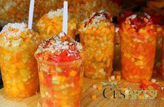 Gaspacho: ensalada de frutas picadas tradicional en Morelia, está compuesta de Jícama, piña, mango y otras frutas a elegir aderezada con jugo de naranja, limón, sal, chile y queso. Delicioso!!