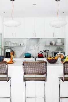 marble slab backsplash and Marcel Breuer chairs : whoorl at home. / sfgirlbybay