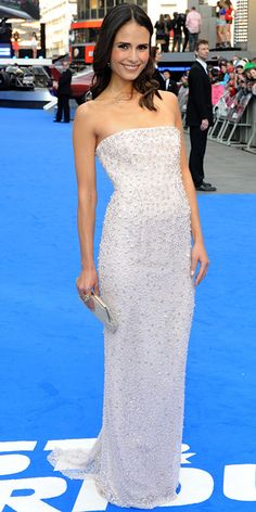 Jordana Brewster in Jenny Packham, at the Fast & Furious 6 premiere at the Empire Leicester Square in London.   (May 7, 2013)