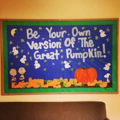 Halloween bulletin board:Charlie Brown and the great pumpkin