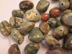 Rhyolite Jasper Beads Green Fossil Rain Forest Green Nuggets QTY 19 $2.85 by FLcowgirls
