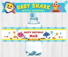 Under the Sea/ PinkFong Baby Shark Birthday Party Bottle Wrappers/ Bottle Labels/ Bottle Stickers Printable by PigsyPartyShack on Etsy