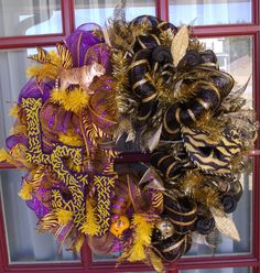 LSU and New Orleans Saints Football House Divided Deco Mesh Door Wreath by Crazyboutdeco on Etsy