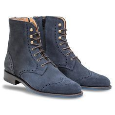New Handmade navy blue boots, wingtip boot, suede leather boots for men, men - Dress/Formal