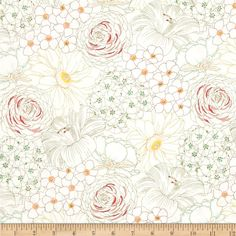 Michael Miller Emma's Garden Big Blooms Blush from @fabricdotcom Designed by Patty Sloniger for Michael Miller, this cotton print is perfect for quilting, apparel and home decor accents. Colors include off white, aqua, mint, olive, pink, yellow, coral, magenta and soft red.