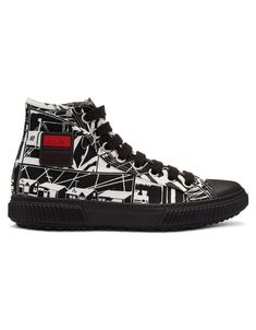 PRADA Black & White Comic High-Top Sneakers · VERGLE