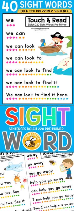 40 Sight Word Sentence Worksheets featuring Dolch 220 Pre-Primer words. Each sheet focuses on a single sight word for students to practice as they read. A new sight word is added for each row the student reads, until a complete sentence is revealed at the end. These sentences are tightly controlled for extra practice and mastery of specific sight words. Print multiple pages per sheet to make small reading booklets for students.