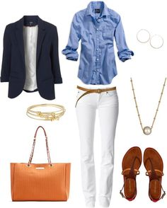 Classy, casual outfit, but would do silver jewelry and a toned down purse. How to Wear White Jeans for Spring