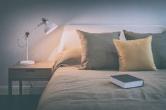 Cozy bedroom interior with book and reading lamp : stock photo Fall Bedroom, Boho Bedroom Decor, Cozy Bedroom, Bedroom Lighting, Traditional Desk Lamps, Boho Curtains, Thing 1, Led Desk Lamp, Girl Decor