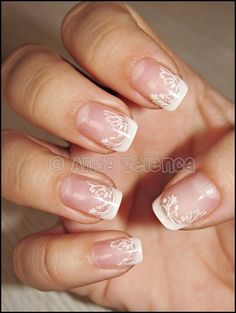 These are beautiful lace nails. Something I would do for my wedding.
