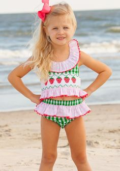 hand smocked strawberry two piece bathing suit pink green check swimsuit