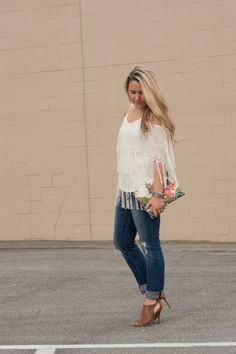 Fringe Cold Shoulder Top