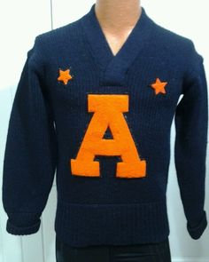 Vintage 1940's Wool College Sweater A Auburn? Lettermen Cheer Navy Orange in Clothing, Shoes & Accessories, Vintage, Men's Vintage Clothing | eBay