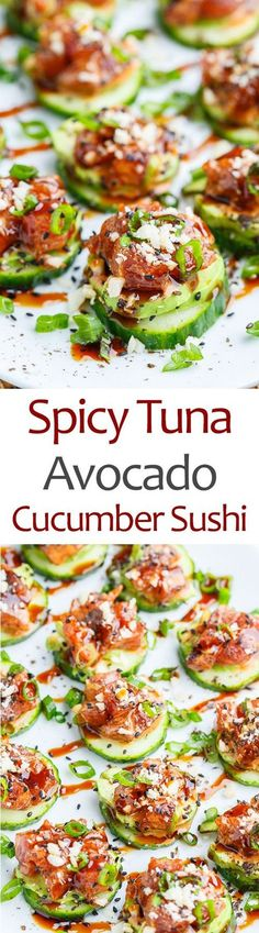 the 4 Cycle Solutions Japanese Diet - Spicy Tuna and Avocado Cucumber Sushi Bites Discover the Worlds First & Only Carb Cycling Diet That INSTANTLY Flips ON Your Bodys Fat-Burning Switch Sushi Recipes, Seafood Recipes, Asian Recipes, Cooking Recipes, Freezer Recipes, Freezer Cooking, Drink Recipes, Cooking Tips, Dinner Recipes