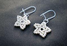 Silver beaded star earrings, bead work, gift for her, festive jewellery, silver stars, dangle earrings, boho earrings, goth earrings, party