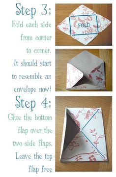DIY homemade envelopes from scrap paper. SO CUTE! too bad I just got rid of my scrap book paper :(