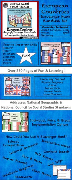 Start off the school year by having your students learn about Europe with this 230+ page scavenger hunt bundled set!