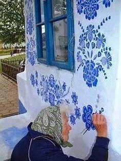Grandmother Agnes Kašpárková delicately paints traditional Moravian ornament on an early century belltower Graffiti, Street Art, Urban Art, Fresco, Artsy, Illustrations, Wall Art, Creative, Artwork