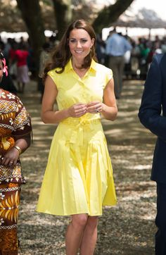 Pin for Later: Proof That Kate Middleton Can Rock Every Color of the Rainbow  A yellow Jaeger sundress was a ray of sunshine in the Solomon Islands.