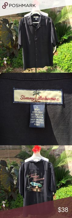 🌴Tommy Bahama Shirt🌴 Men's Hawaiian Shirt by Tommy Bahama - 100% silk (decoration), 100% rayon. Black, short sleeve button down shirt with front pocket at chest. Coconut buttons, with large detailed embroidered design on the back  that says Tommy Bahama Hi-Note Cafe with tiki bar design. Great condition, no flaws or stains. Size Large. 🌴🎶 Tommy Bahama Shirts Casual Button Down Shirts