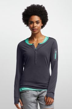 Terra Long Sleeve Henley - Icebreaker merino wool travel clothing:  washable, breathable; layerable, antimicrobial.  Good for base layer, 1st layers, etc. for travel.