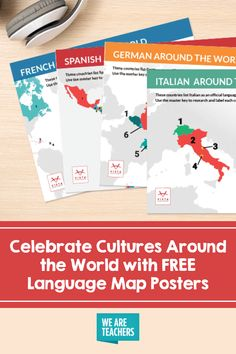 With these free language map posters, students will learn about all the countries that speak French, Spanish, Italian, and German. Map Posters, List Of Countries, How To Speak French, Foreign Language, Teaching Spanish, Fun Learning, Lesson Plans, Encouragement, German