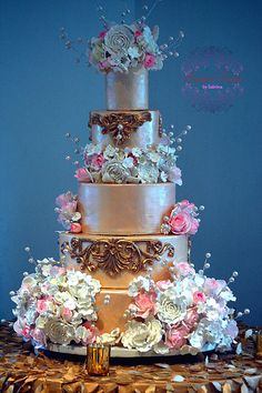 Romantic Ivory and Gold Baroque Wedding Cake with Sugar Flowers