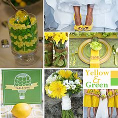 Green and Yellow Wedding Colors - A combination that works well for spring and summer is yellow and green. If  your wedding is in the springtime, you can find lots of flower choices such as daffodils and daisies.  | #exclusivelyweddings