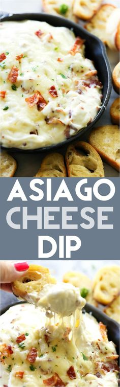 This Asiago Cheese Dip is loaded with cheesy goodness! The flavor is amazing and… This Asiago Cheese Dip is loaded with cheesy goodness! The flavor is amazing and it is so simple to make! Great for parties and get togethers! Appetizer Dips, Yummy Appetizers, Appetizers For Party, Appetizer Recipes, Party Snacks, Dip Recipes, Cooking Recipes, Recipies, Cream Recipes