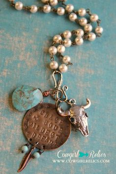Chase Your Wildest Dreams Rustic Western Charm Necklace-PearlTurquoise