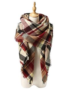 7c5e8e8f3e792 Womens Fall Winter Scarf Classic Tassel Plaid Scarf Warm Soft Chunky Large  Blanket Wrap Shawl Scarves Pink Scarf   Find out more about the great  product at ...
