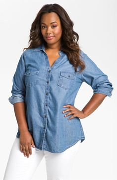 Sejour Split Neck Chambray Shirt (Plus) available at #Nordstrom The chambray shirt is the new basic you have to have in your wardrobe!
