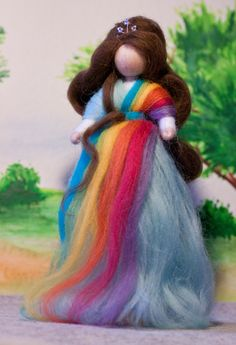 wool fairy, Fee aus Märchenwolle, fairy, felt, wool, craft, jahreszeitentisch, märchenwolle, waldorf, Regenbogen. rainbow https://www.facebook.com/Colorspell
