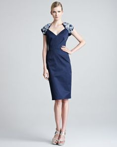 Embroidered Stretch-Sateen Dress by Lela Rose at Neiman Marcus.