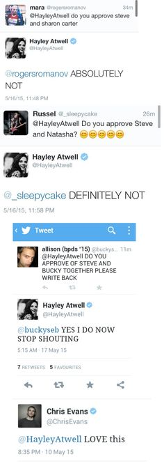 The beautiful Hayley Atwell shipping saga --- sorry guys. The queen has spoken.