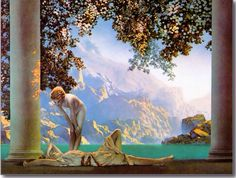 Daybreak (detail) by Maxfield Parrish, 1922 | Postcard version by Zazzle