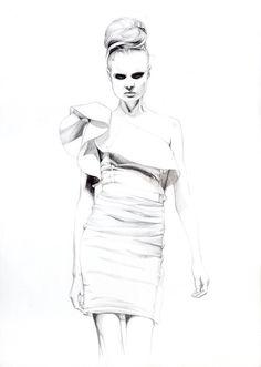 Beautiful fashion illustration in pencil