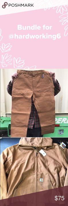 Bundle for @hardworking6 Bundle for @hardworking6 - 3 items:Carhartt Men's Double Front Work Dungaree B01BRN size 42x30, Carhartt Men's J131 Duck Thermal Lined Jacket Size XXL, Carhartt Tan Knit Watch Cap, price is firm Carhartt Jackets & Coats