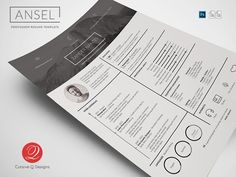Ansel - Photoshop Resume Template by Cursive Q Designs on Creative Market