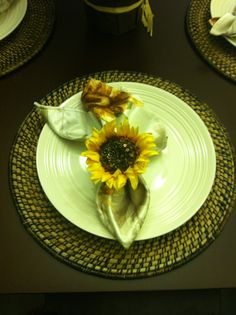 Sunflower napkin with sunflower napkin ring & woven bamboo chargers - my kitchen table - Tuscan kitchen