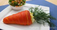 carrot crescents filled with egg salad