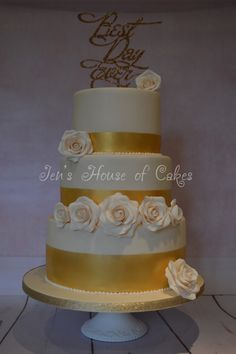Gold Bands & Sugar Roses, Best Day Ever Wedding Cake