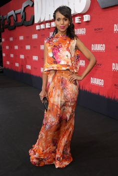 Kerry pulled out all the stops for Django Unchained's Berlin premiere in a floaty, feminine floral-print ensemble by J. Mendel. She kept things minimal with a simple box clutch and a pretty fuchsia lip colour